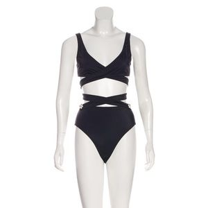 Solid and striped black bathing suit